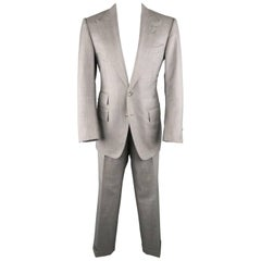 Men's TOM FORD 40 Regular Grey Herringbone Wool Peak Lapel Suit