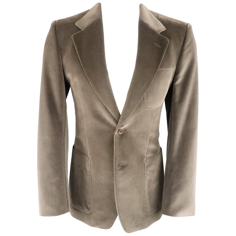 YVES SAINT LAURENT Size 34 Dark Taupe Velvet Patch Pocket Sport Coat For Sale