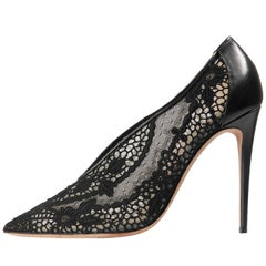 Valentino New Black Leather + Lace Evening Heels Pumps in Box