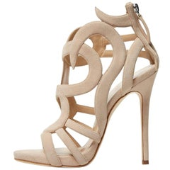 Giuseppe Zanotti New Nude Tan Cut Out Gladiator Heels W/Box
