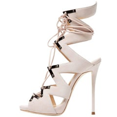Giuseppe Zanotti New Blush Suede Cut Out Gladiator Heels W/Box