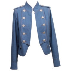 CHANEL Chambray Military Style Cropped Jacket