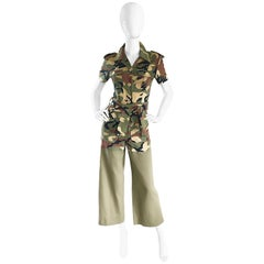 Vintage Moschino Camouflage 1990s Belted 90s Rare Safari Cargo Jumpsuit Romper