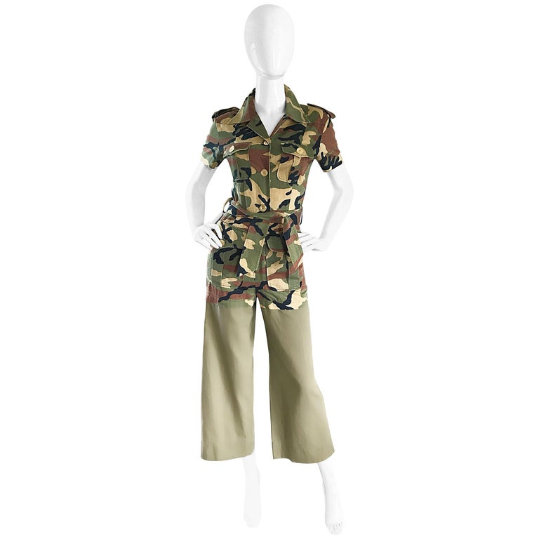 Vintage Moschino Camouflage 1990s Belted 90s Rare Safari Cargo Jumpsuit Romper For Sale