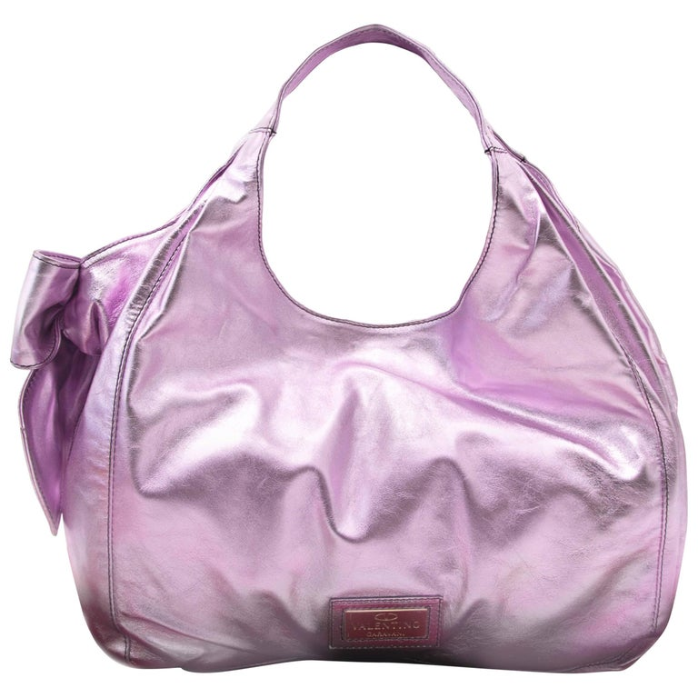 Valentino Metallic Pink Nuage Bow Tote