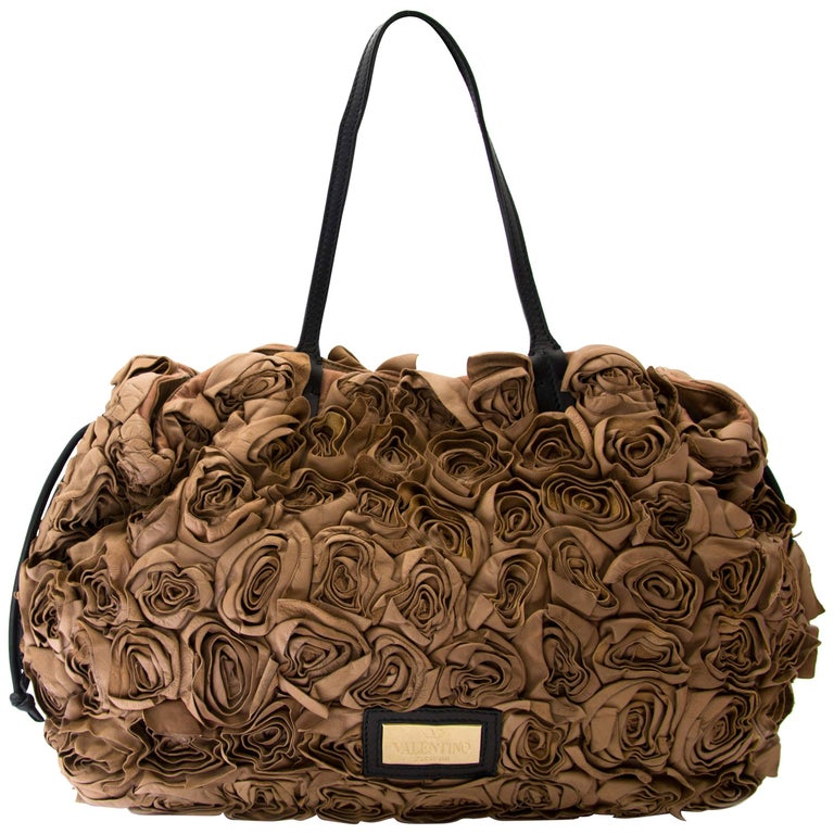2a38f9a3dd37 Valentino Taupe Leather Floral Rosette Bag For Sale at 1stdibs