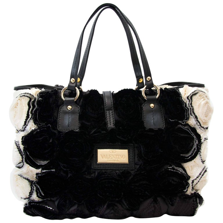 Valentino Rosette Black and White Shoulder Bag