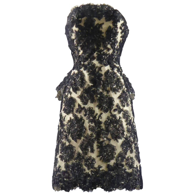 CARVEN COUTURE PARIS 1960\'s Black Sequin Dress with Structured ...