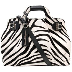 "Salvatore Ferragamo ""W"" Bag Zebra Pony Hair"