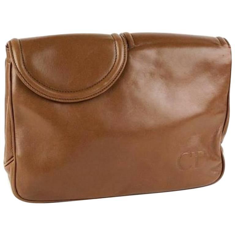 Vintage Christian Dior brown leather double flap clutch bag, pouch. Unisex bag.