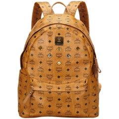 MCM Brown Visetos Studded Leather Backpack