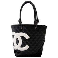 Chanel Cambon Quilted Black And White Small Tote
