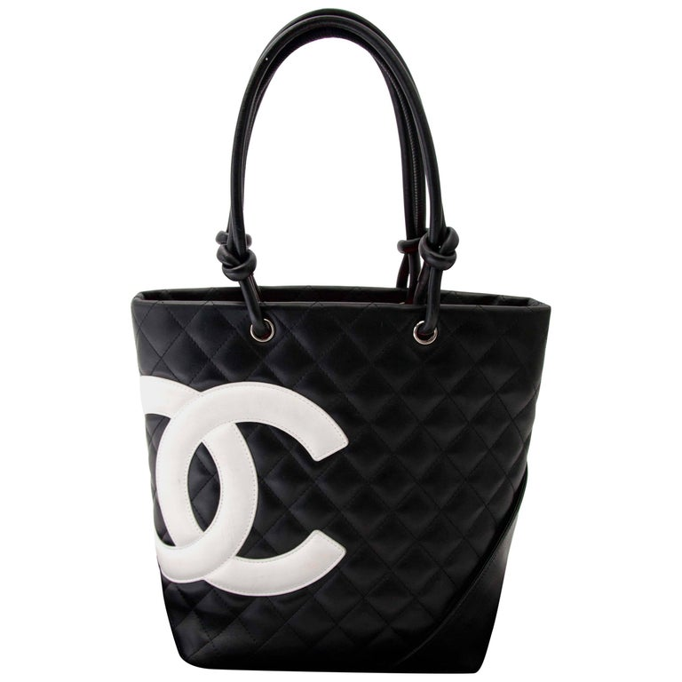 a9c07d29db11 Chanel Cambon Quilted Black And White Small Tote at 1stdibs