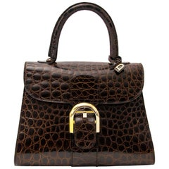 Delvaux Brillant PM Crocodille Brown GHW