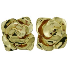 Christian Dior Vintage Oversized Gold Tone Rose Clip-On Earrings