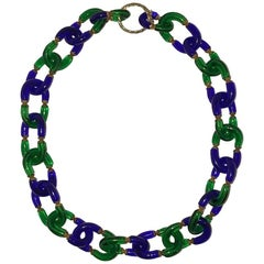 Segues Blue and Green Glass Chain Necklace