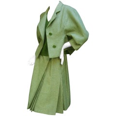 Galanos 1970s Green Wool Houndstooth 3pc Skirt Suit Ensemble