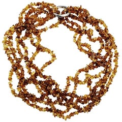 Multi-Strand Medium tone Citrine Necklace