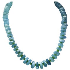 Graduated Aquamarine Necklace with Peridot