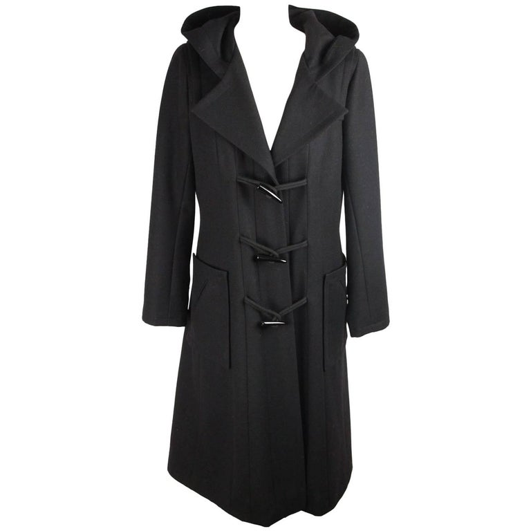 CHANEL Vintage Black Wool HOODED DUFFLE COAT Size 42 For Sale at ...