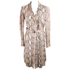 GUCCI Beige PYTHON Leather TRENCH COAT Size 40