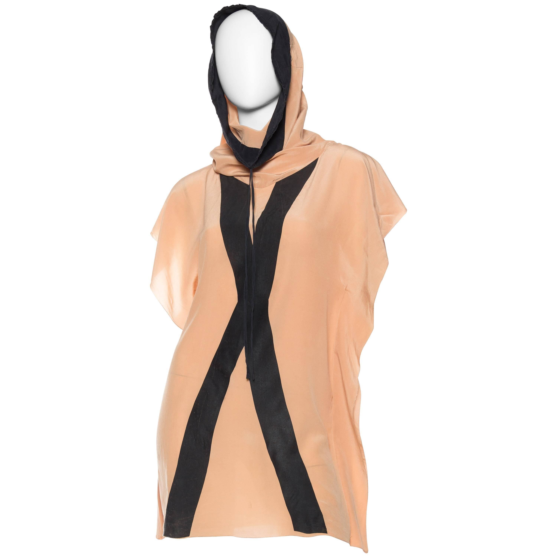 "2000S JEAN PAUL GAULTIER Silk Crepe De Chine Hooded Tunic ""X""  Blouse"