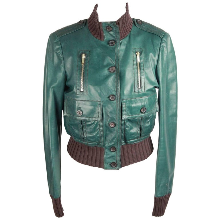 GUCCI Green Leather BOMBER MADONNA JACKET Size 40 For Sale at 1stdibs