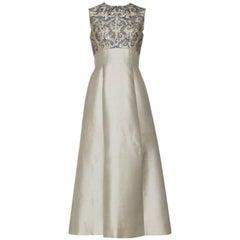 1960s Gibson Bayh Gunmetal Beaded Silk Gown