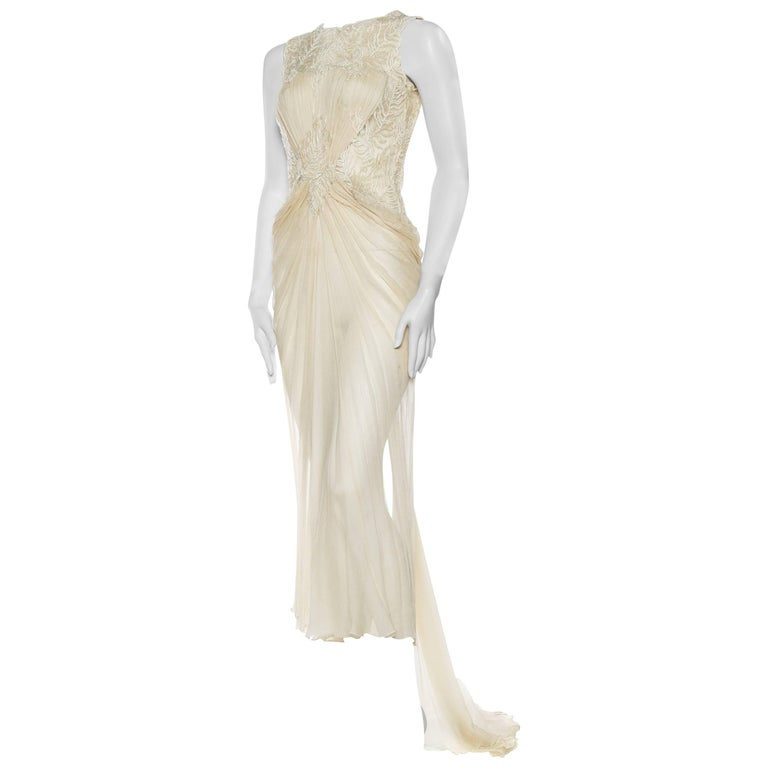 Sheer Sil Chiffon and Lace Gown