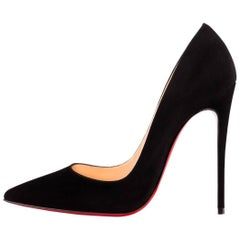 Christian Louboutin New Black Suede SO Kate Heels Pumps in Box