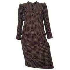 Nina Ricci 1970s Wool Brown & Black Houndstooth Jacket & Skirt Set Size 6.