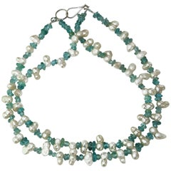 Double strand of White Pearls and Blue Apatite Necklace