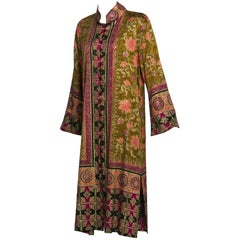 Mary Jane Sarvis One of a Kind Hand-Printed Couture Silk Caftan Dress