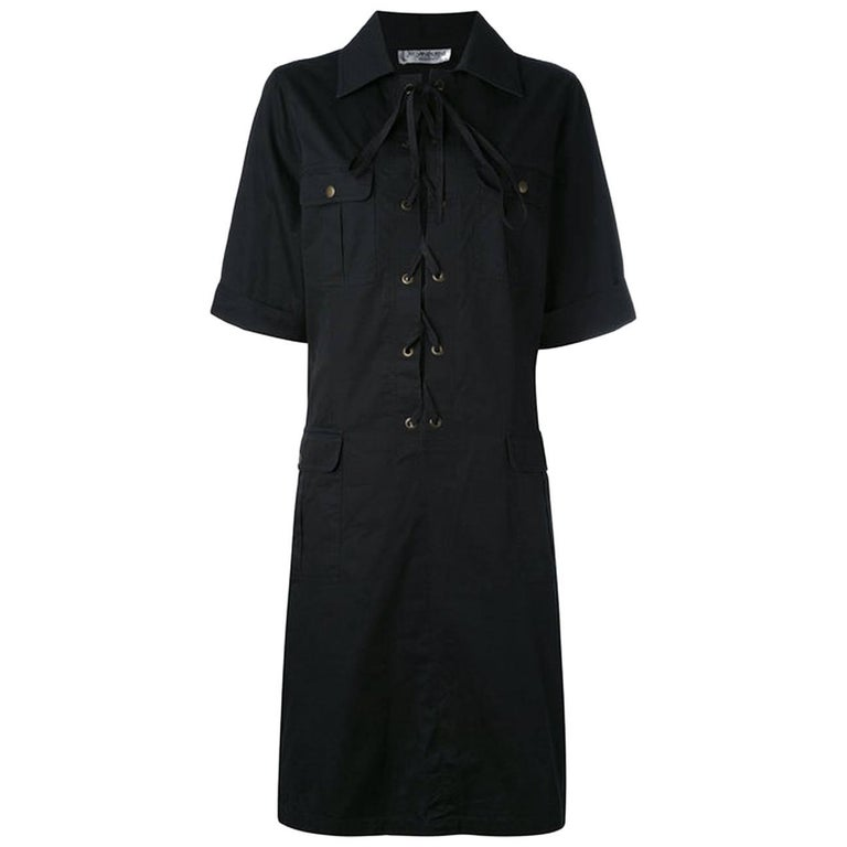 Yves Saint Laurent Black Cotton Safari Dress