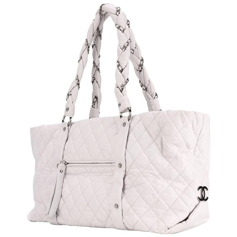 Large Off White Chanel Quilted Lambskin Tote Bag For Sale