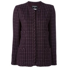 Plum and Silver Lurex Chanel Wool Boucle Jacket