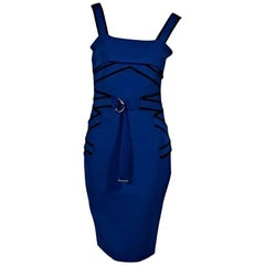 Blue & Black Mugler Sheath Dress