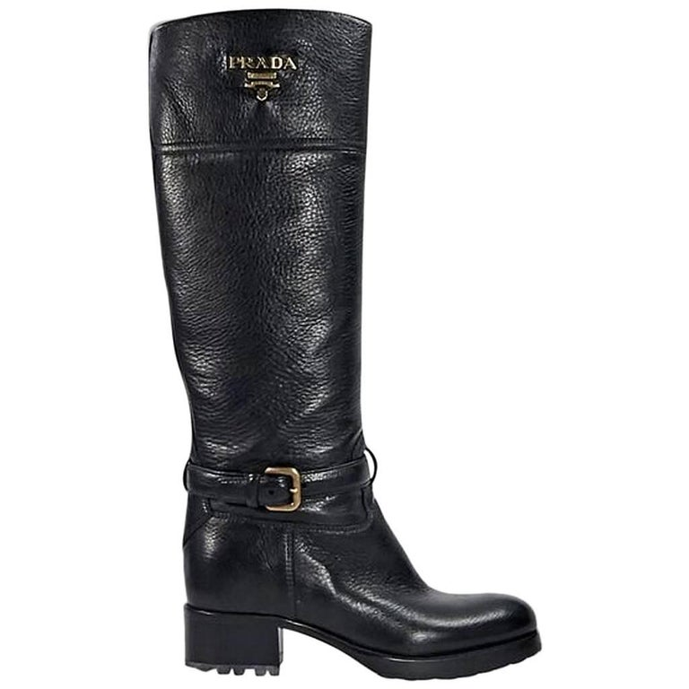 Black Prada Leather Cervo Riding Boots For Sale