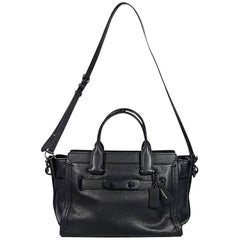 Black Coach Pebbled Leather Swagger 27 Satchel