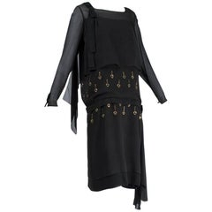 Egyptian Revival Black Chiffon Blouson Dress with Metal Eyelets, 1924