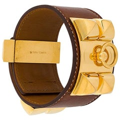 Hermes Caramel Leather Collier de Chien Bracelet