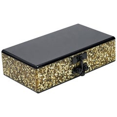 Black & Gold Edie Parker Glitter Box Clutch