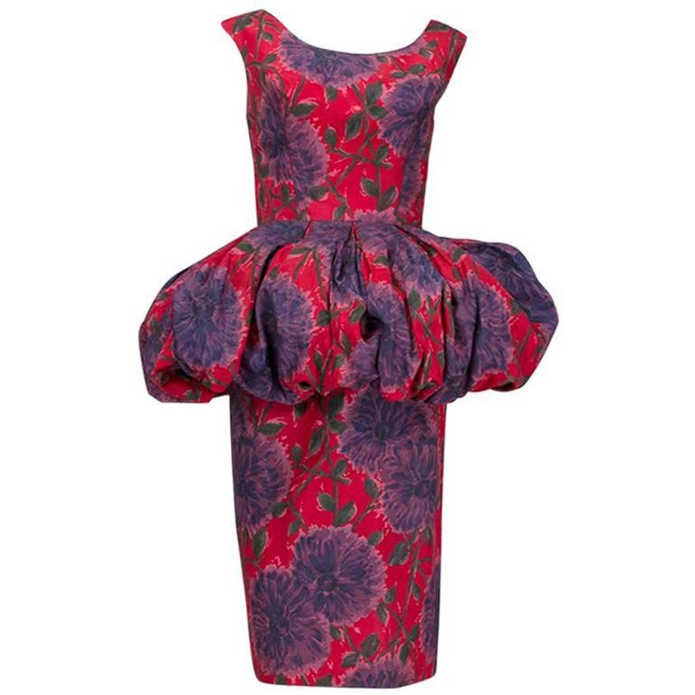 Red Floral Renaissance Peplum Cocktail Dress 1960s For Sale At 1stdibs