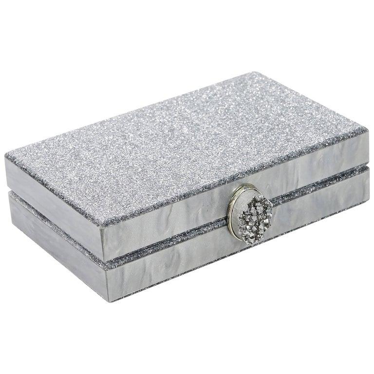 Silver Ashlyn'd Glitter Box Clutch For Sale