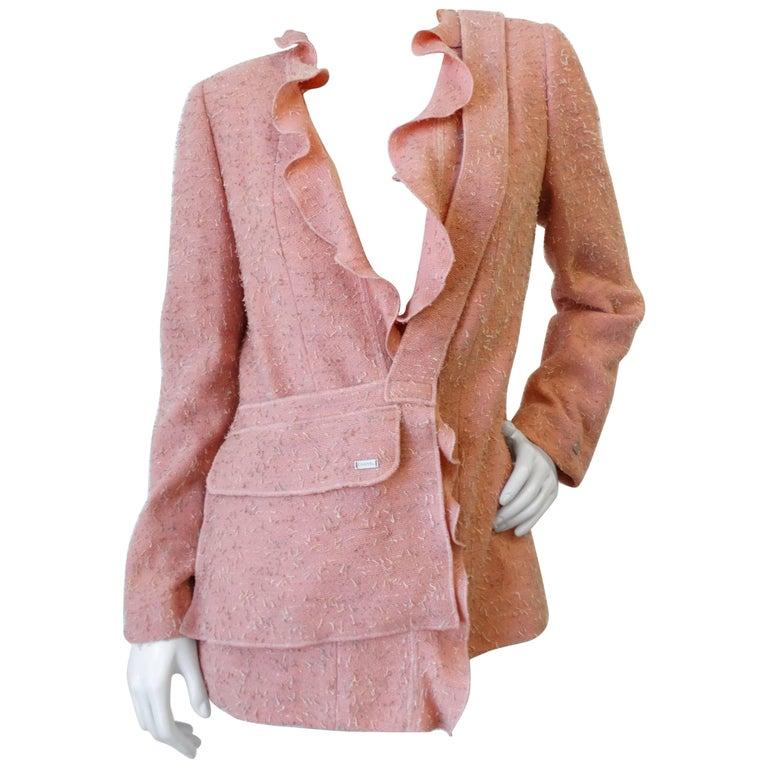 Chic 1990s Chanel Ruffle Jacket & Matching Crossbody Bag Set