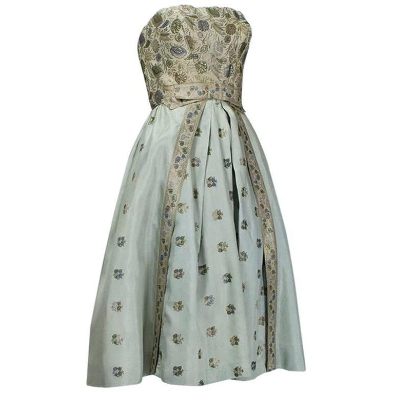 Jacques Cassia Haute Couture Strapless Brocade Party Dress, 1950s For Sale