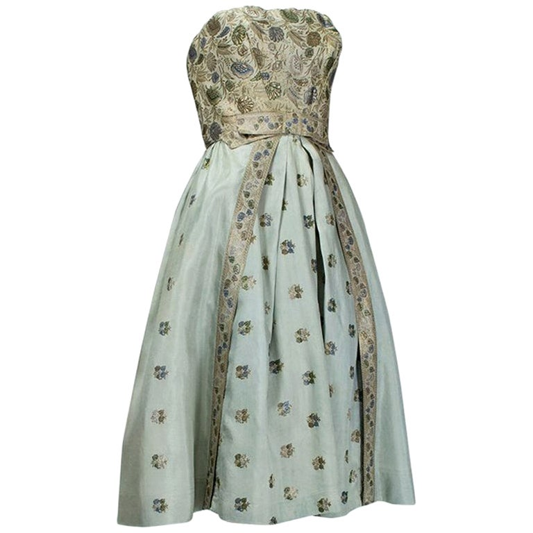 Jacques Cassia Haute Couture Silver Silk Brocade Party Dress - Sm-Med, 1950s