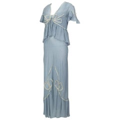 Pale Blue Hollywood Regency Chiffon and Lace Peignoir, 1930s