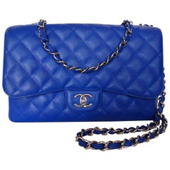 Chanel 10c Bleu Roi Caviar Jumbo Shoulder Bag, 2010