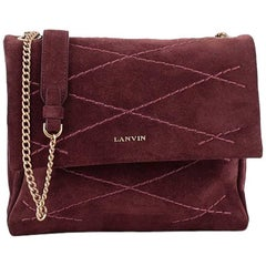 Lanvin Sugar Flap Shoulder Bag Quilted Suede Mini